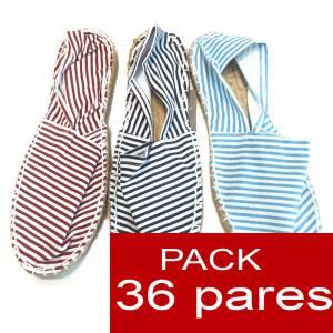 Cerradas mujer - Alpargatas cerradas 3 colores marineras - rayas finas (TIENDA) caja 36 pares (�ltimas Unidades)